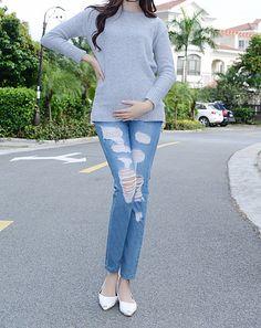 00e7e283c6d31 J6077 Damaged Jeans Pregent Women Maternity Skinny Pants Maternity Trousers  Stocks - Buy Damaged Jeans,Maternity Clothing,Maternity Blue Jeans Pregnant  ...