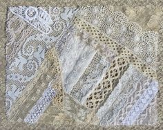 Vintage & Antique Lace Collage, No. 14 ... Embellishment for crazy quilting, heirloom sewing, fabric art, journals, assemblage, multi media