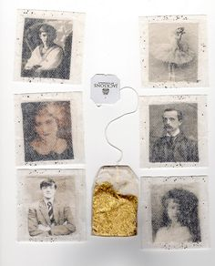 "Photos cocooned in teabags.  What an incredibly clever idea!  Thanks to ""deer things"" for sharing this fun vignette via Flickr."