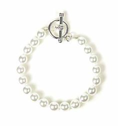 Faux Pearl Bracelet with Toggle Clasp
