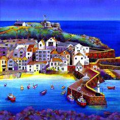 Ives - by Gilly Johns Seaside Art, Beach Art, Pretty Pictures, Art Pictures, Seaside Pictures, St Just, Arte Popular, St Ives, Naive Art