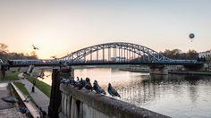The balloon over the Pilsudski's bridge in Krakow (Cracow), Poland