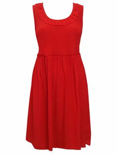 NEW Marks and Spencer Per Una Red Chilli Pleat Skater Tea Summer Dress 12 to 18