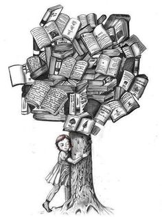 a book tree illustration Tattoo Buch, Book Tattoo, Tattoo Quotes, I Love Books, My Books, Book Tree, World Of Books, I Love Reading, Reading Tree