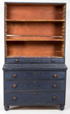 c 1830-1850 Primitive Cabinets, Primitive Furniture, Antique Cabinets, Country Furniture, Antique Furniture, Painted Furniture, Pine Desk, Blue Matter, American Paint