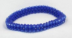 Blue Beaded Bangle Bracelet Cobalt Sapphire by VioletJewelry, $44.00