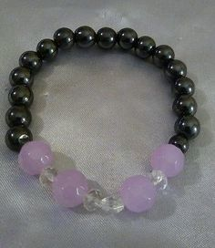 Black Magnetic Therapy Beads With Purple And White Faceted Bead Stretch Bracelet