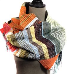 New to pidgepidge on Etsy: Andrew | Handwoven Pumpkin Bright Red & Olive Scarf | Woven Autumn Fashion | Unisex Striped Textile | Striped Men's Gift | Weaving Loom