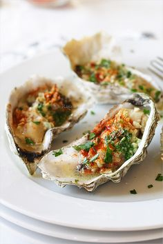 Baked Oysters from RasaMalaysia.com Click to page two for the recipe. #low_carb #oysters