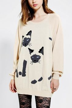 UO Urban Outfitters Siamese Cat Oversized Sweater Dress #UrbanOutfitters #SweaterDress