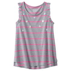Girls 7-16 & Plus Size SO® Striped Ruffle Tank Top, Girl's, Size: