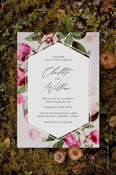 Stunning pink and green botanical Wedding Invitation by Sail and Swan Studio. The design features romantic, flowy calligraphy writing with elegant pink peonies and roses, green leaves and other botanical elements.