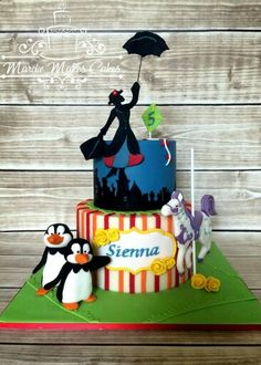 Poppins, penguins & a horse, cake.