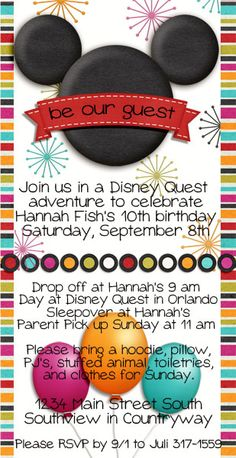 Disney birthday party invitation, tween birthday party, Disney Quest, video game birthday, Mickey Mouse head invitation,