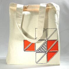 Recycled cotton tote bag screenprint geometric by LEFTright, $18.00
