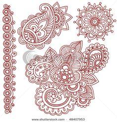 Stock Vector Hand Drawn Abstract Henna Mehndi Paisley Doodle