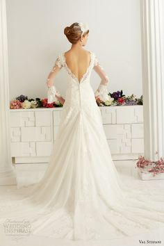 val stefani fall 2013 bridal long bell sleeves romantic lace wedding dress d8043 train