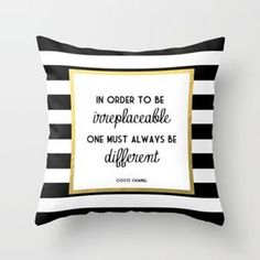 Coco Gold Fashion Quote Throw Pillow by Poppy Loves To Groove from Saved to For the bedroom and bathroom. Coco Chanel, Chanel Black, Gold Accent Pillows, Black Gold Bedroom, Throw Pillow Covers, Throw Pillows, Pillow Cases, Scatter Cushions, Cushion Covers