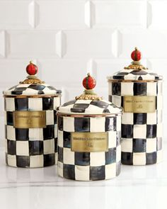 """""""Courtly Check"""" Canisters by MacKenzie-Childs at Neiman Marcus."""