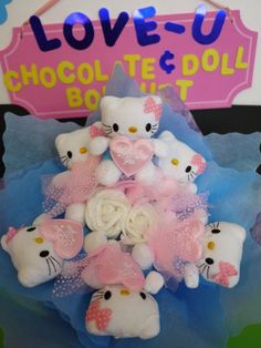 Hello! Cute Kitty Doll Flower Bouquet! Unique & sweet gift for her!