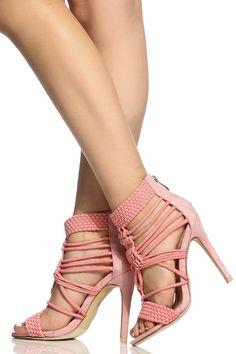 b0013db46436 Pink Faux Suede Multi Strap Open Toe Single Sole Heels   Cicihot Heel Shoes  online store