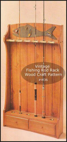 Fishing Rod Rack Fishing Wood Pattern Cottage by DurhamDeals Fishing Pole Storage, Fishing Pole Holder, Fly Fishing Rods, Fishing Tips, Fishing Tackle, Wood Patterns, Craft Patterns, Bow Rack, Vintage Fishing