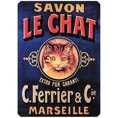 Savon Le Chat - Plaque métal - Le chat - (Petite - 15x21)