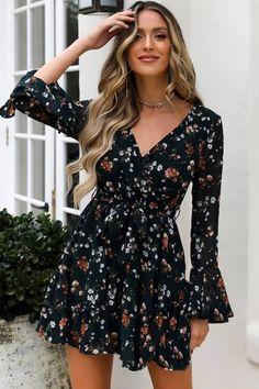 Boho Short Mini Long Sleeve Floral Dot V-Neck Dress – GoFashionova Pretty Dresses, Simple Dresses, Short Dresses, Dresses With Sleeves, Summer Dresses, Cute Floral Dresses, Long Casual Dresses, Floral Dress Outfits, Teal Dresses