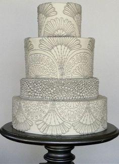 Indian Weddings Inspirations. Silver Wedding Cake. Repinned by #indianweddingsmag indianweddingsmag.com #weddingcake