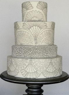 Indian Weddings Inspirations. Silver Wedding Cake. Repinned by #indianweddingsmag indianweddingsmag.com #weddingcake