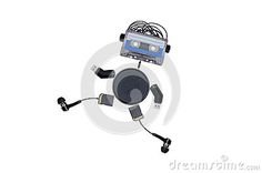 The robot is made of audio tapes and multiple gadgets isolated on white background, runs forward