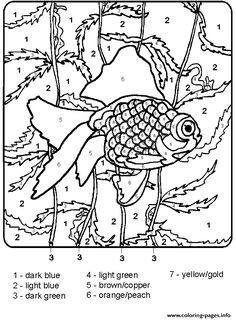 Print color by number fish for adults coloring pages