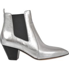Marc Jacobs Dance Kim chelsea boot ($267) ❤ liked on Polyvore featuring shoes, boots, ankle booties, silver, leather bootie, ankle boots, pointy-toe ankle boots, leather chelsea boots and metallic booties
