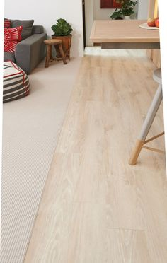 Love the transition from living to dining and kitchen with Eternity Bairdstowe textured carpet in Bligh and Genero Clic luxury vinyl flooring in Snow Gum. To recreate the look, visit http://www.choicesflooring.com.au/search-flooring-range/