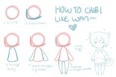 The Sanitarium // How to chibi by =WanNyan Drawing Skills, Drawing Tips, Art Drawings Sketches, Cute Drawings, Chibi Body, Chibi Sketch, Sketches Tutorial, Digital Art Tutorial, Drawing Base