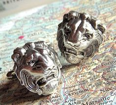 Cuff Links - SILVER Lion Heads - BIG and BOLD Victorian Royal Gothic