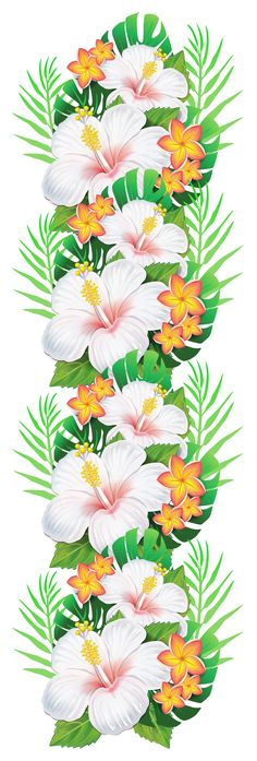 White Exotic Flowers Decoration PNG Clipart