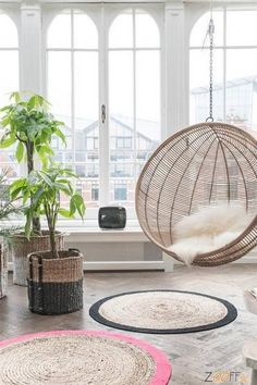 HK Living Rotan Hangstoel Bal naturel