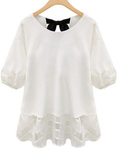 White Back Bow Chiffon Plus Top
