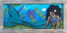 East Nashville Artist, Dayo Johnson, Owner of Dayo Art. Acrylic on canvas…, carved mermaid painting under the sea