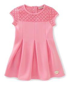 Pink Floral-Yoke Skater Dress - Toddler & Girls