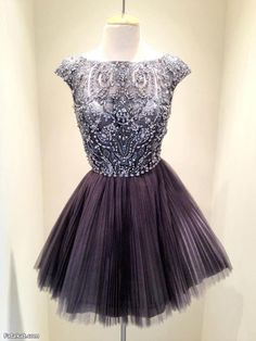 Short Dark Grey Bead Tulle Prom Dress Custom Dress Straps Knee-length Formal Dress Homecoming Dress Party Dress Cocktail Dress 2014