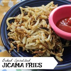 Baked Spiralized Jicama Fries