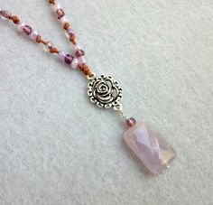 Rose and Genuine Amethyst Stone Necklace. Starting at $1 on Tophatter.com!