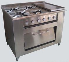Cocina Industrial 4 Platos, Plancha Churrasquera y Horno   RAC-Chile