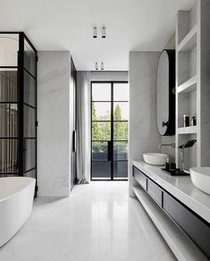 Modern bathroom furniture - what are the trends of 2017 - Badezimmer - Bathroom Decor Minimal Bathroom, Modern Bathroom Design, Bathroom Interior Design, Modern House Design, Home Design, Small Bathroom, Bathroom Faucets, Modern Houses, Minimalistic Kitchen