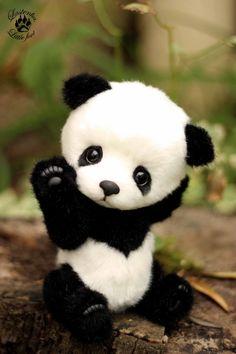 Panda Stasy (made to order) handmade plush collectible stuffed toy OOAK teddy bear Super Cute Puppies, Baby Animals Super Cute, Cute Kawaii Animals, Cute Little Animals, Cute Panda Baby, Baby Panda Bears, Cute Baby Dogs, Baby Pandas, Baby Animals Pictures
