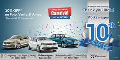 Mega #Exchange Carnival on 25th & 26th Feb. + Get a 10% off* on #Polo, #Vento and #Ameo till 28th Feb.! For more details, Visit +Volkswagen Karnavati - S.G. Highway showrooms (open till midnight) or call on 9377771199 / 9377770011.