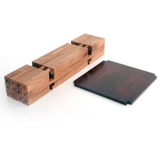 Chidori Furniture - Twelve wooden sticks slot together without glue to form the units, which then makes shelving or a table
