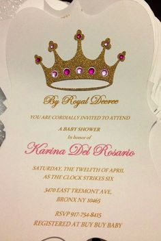 Royal Princess Baby Shower Invitation Pink or Lavender Gold Silver